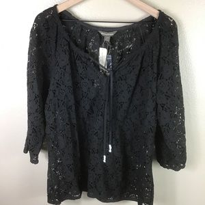 NWT- Tommy Bahama Black Lace Top
